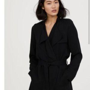 H&M Black Drape cotton trench coat